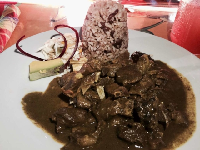 Curried Goat with Rice & Peas